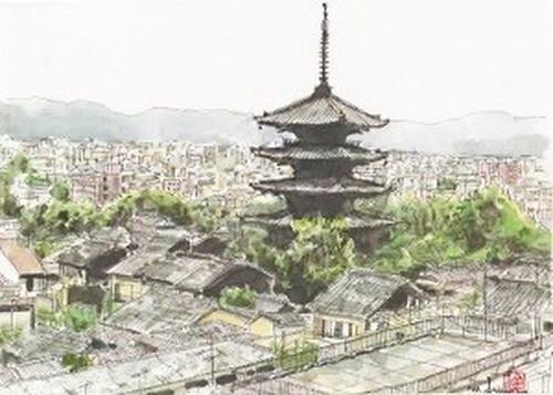 「水彩画ミニアート」京都 八坂の塔
