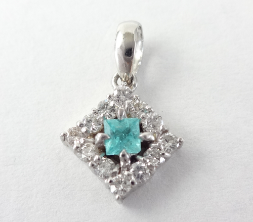 【SOLD OUT】パライバトルマリン ダイヤ ペントップ プラチナ 0.086ct 0.21ct ~ Parayba tourmaline diamond pendant top platinum 0.086ct 0.21ct~