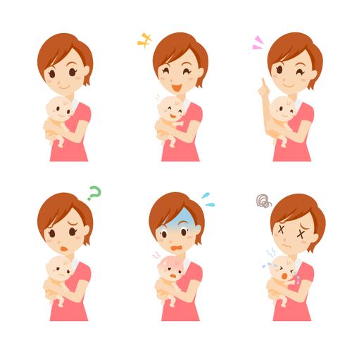 子育て 女性 表情 セット