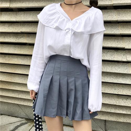 【トップス】女子マストスウィートパフスリーブVネックシャツ