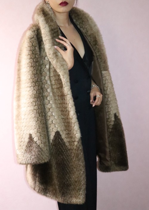70's honeycomb faux fur coat