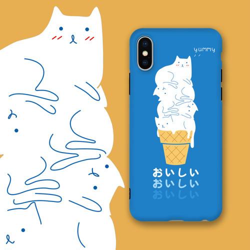 ネコちゃん アイスクリーム iphone8 plusフルカバー original 可愛い 男女通用 ユニーク イラスト オリジナル アイフォンXケース 芸能人愛用 iPhone7/6カバー