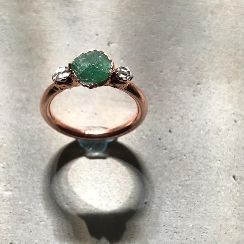エメラルド ハーキマーダイヤモンド リング