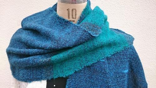 -Turquoise Blue- さをり織り ターコイズブルーストール