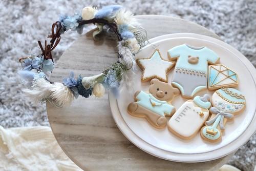 Baby花冠&アイシングクッキー《Cristal blue》