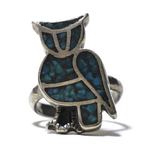 70's Vintage Navajo Turquoise Chip Inlay Owl Ring