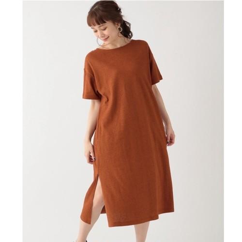 ロングワンピース 綿 Tシャツ 半袖 スリット ラウンドネック シンプル カジュアル