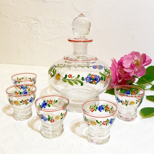 Vintage Czech Bohemian or Belgian Glass Liqueur Carafe Set with Enamel Hand Painted Floral Motif  [GV-13]