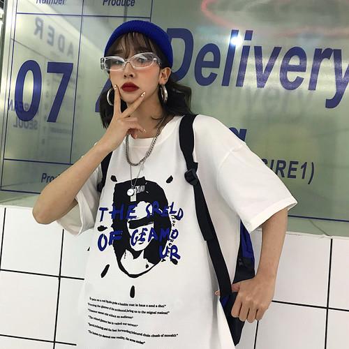 【トップス】ストリート系ヒップホッププリントTシャツ20536381