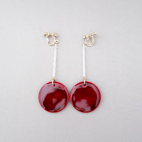 飛騨春慶のイヤリング 紅/ガラスパーツ[E349]