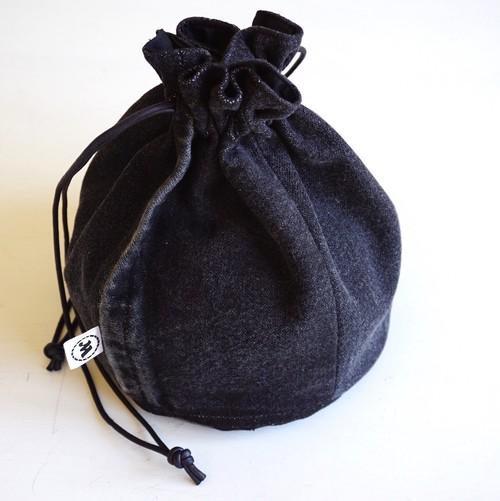 """[Magfacture] """"DRAWSTRING BAG"""" Vintage Black Denim"""