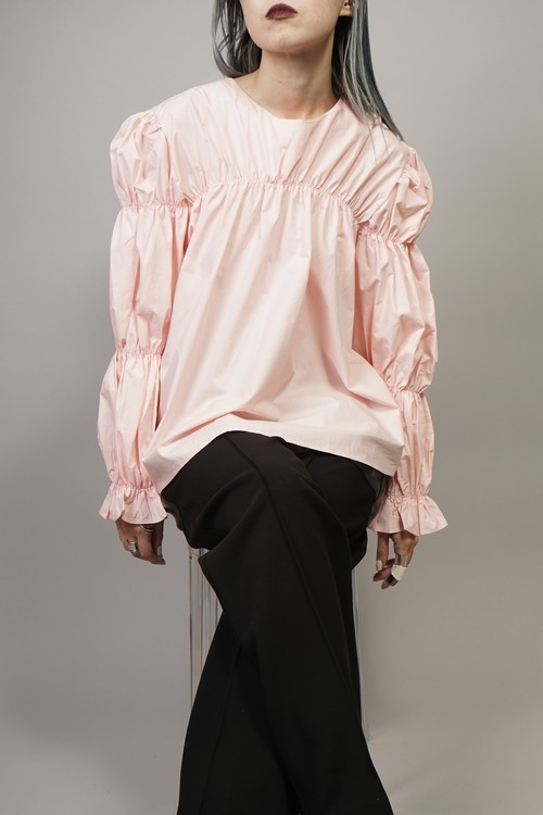 GATHER SLEEVE TOPS  (PINK) 2104-32-43