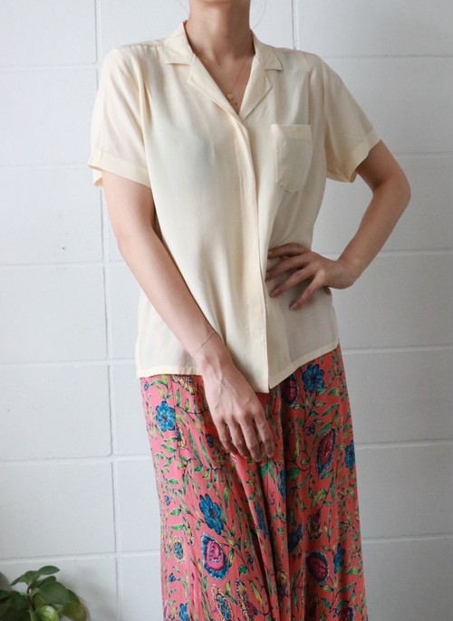 creme yellow silk shirt