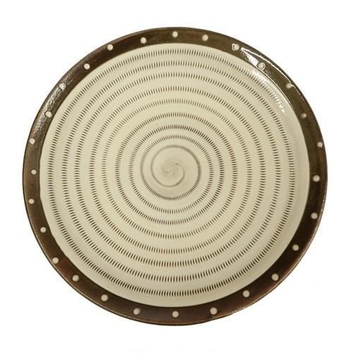 小石原焼 8.5寸皿 トビカンナ フチ茶 白ドット 上鶴窯