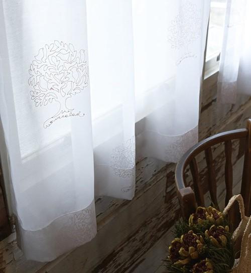 刺繍柄 レースカーテン