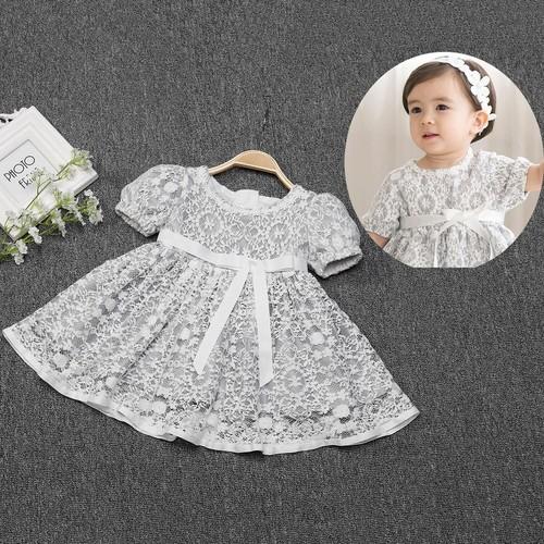 8402子供服 キッズドレス ベビードレス 女の子ドレス フォーマルドレス 赤ちゃんドレス 出産祝い お宮参り 新生児 ワンピース レース グレー 3M6M12M24M 80cm 90cm