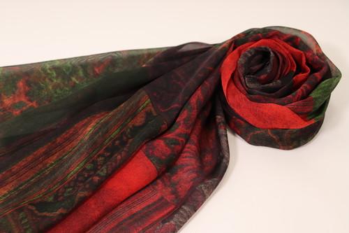 シルクシフォンスカーフ(赤)
