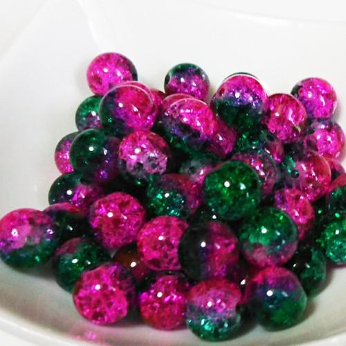 ガラスクラックビーズ・8mm ピンク&グリーン(5個入り) [E03-005]