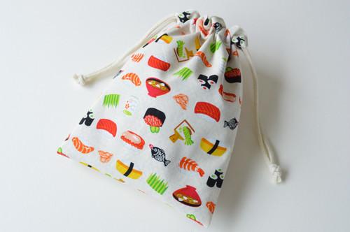 ポンっと入れてバッグの中をすっきりお片付けシンプルが使いやすい・巾着袋 お寿司 鮨 白
