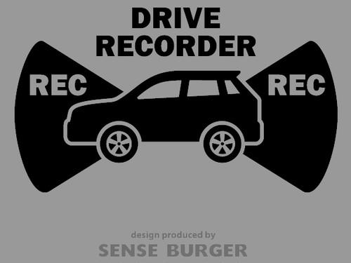 ●REC 前後録画 ドラレコ ドライブサイン REC DRIVE RECORDER SUV アウトドア車 搭載車 録画中 撮影中 ドライブレコーダー ステッカー カッティングシート シール 車に貼れる 監視 防犯 黒 ブラック【sti06711blk】