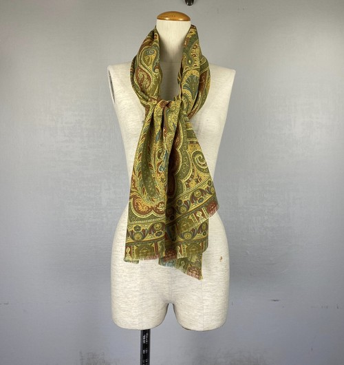 .ETRO WOOL SILK PAISLEY PATTERNED LARGE SIZE SHAWL MADE IN ITALY/エトロウールシルクペイズリー大判ショール(ストール) 2000000043593