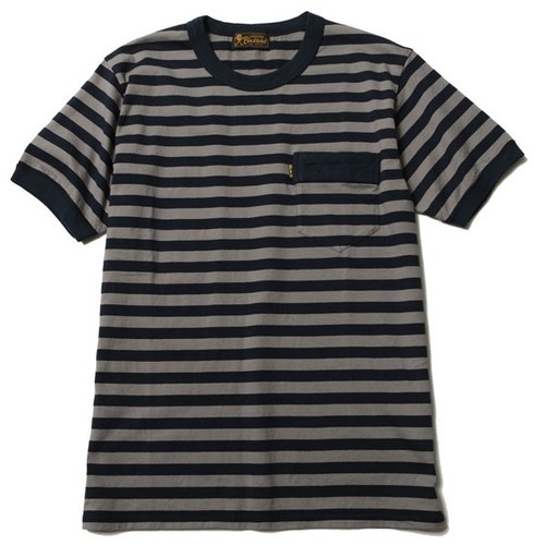 DIA STITCH BORDER TEE (NAVY/GRAY) / RUDE GALLERY BLACK REBEL