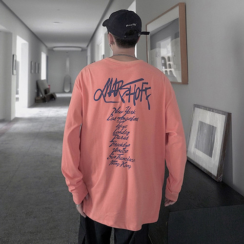 バックプリントルーズ長袖Tシャツ BL4199