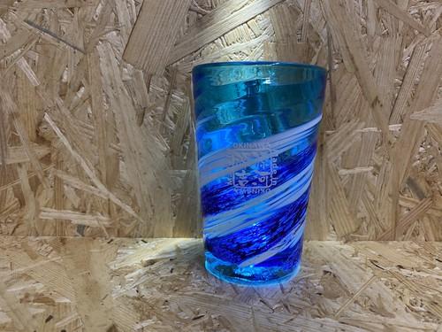 荒波コバルト一口ビアグラス 源河源吉琉球ガラス