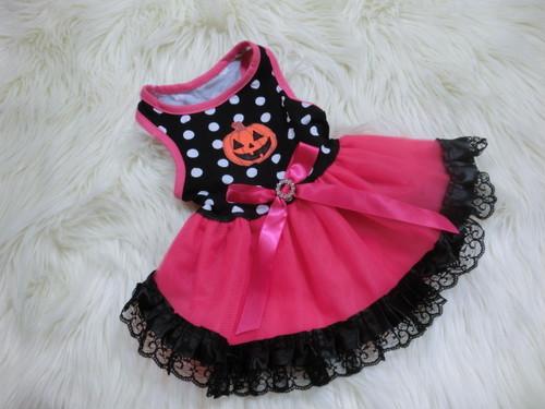 【アウトレット】★かわいい犬服ワンピ/ドレス  ハロウィンドットチュチュドレス