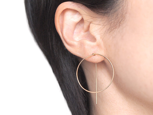 14KGF Square Wire Earrings / Circle
