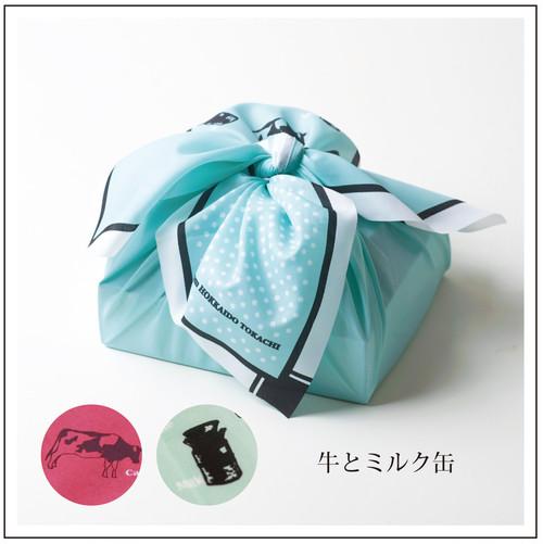 十勝柄ラッピング風呂敷(牛/水色)