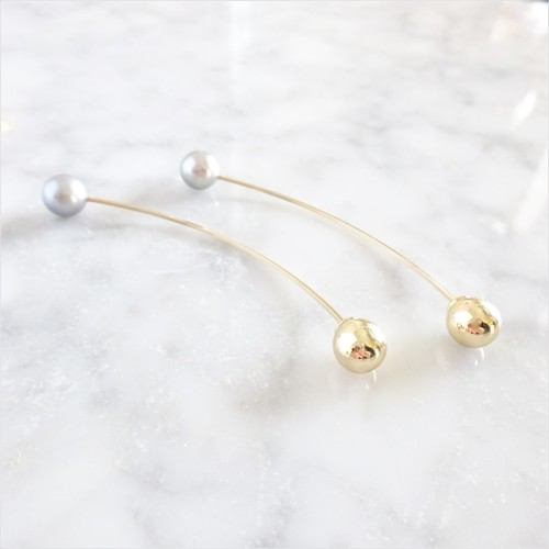 14kgf*Freshwater pearls arrow pierced earring(SV+GLD)