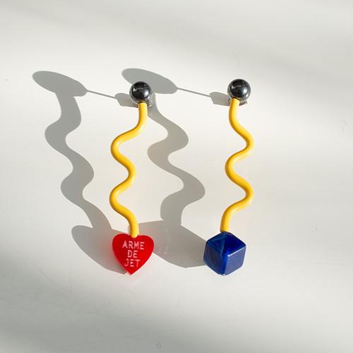 くねくねポップ Pierces / Earrings -lichtenstein yellow-
