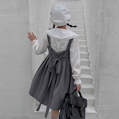 【セットアップ】秋2019学園風シャツ+無地ギャザー飾りワンピース二点セット