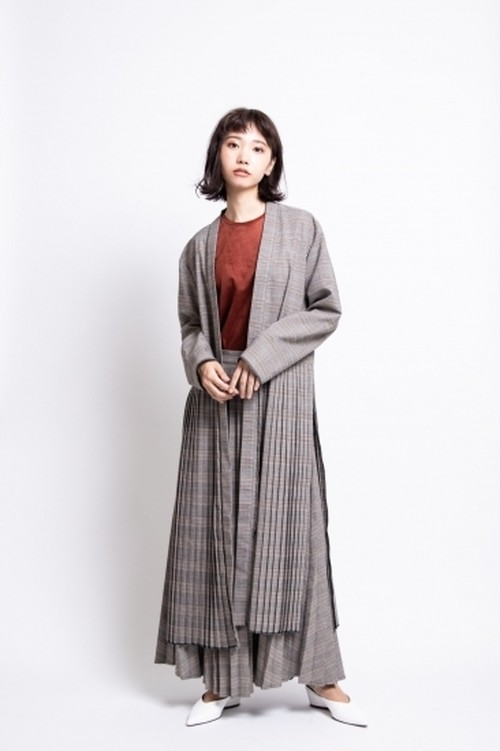 il - pleats skirt/check