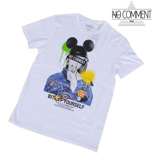 NO COMMENT PARIS ノーコメント パリ Tシャツ 半袖 クルーネック Tシャツ メンズ 2021年モデル 正規販売店 LTN277 ホワイト