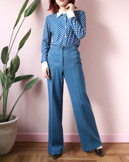 70's Blue stretched wide flare pants