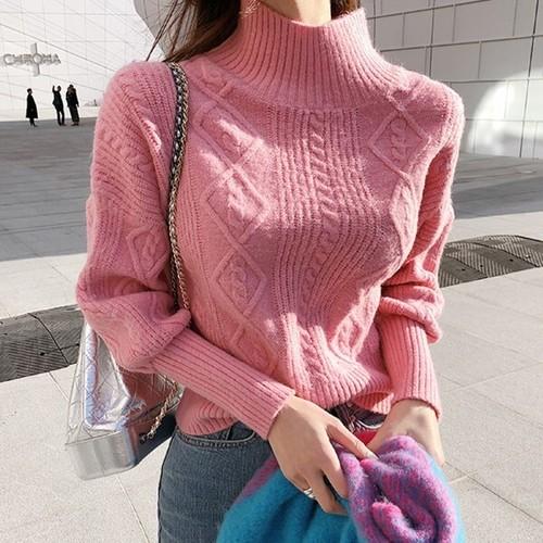 レディース ニット タートルネック 長袖  大人可愛い ケーブル編み デート お出かけ ピンク ハイネック キュート 韓国