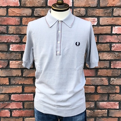 Fred Perry Broken Tipped Knitted Polo Shirt Dolphin UK36