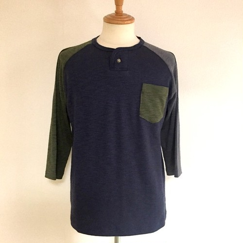 Slab Ripple Henry Neck Three-Quarter Sleeve Cut & Sewn Navy×Olive×Gray