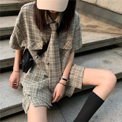 【送料無料】 ボーイフレンドスタイル♡ チェックシャツ ネクタイ ハーフパンツ 3点セット カジュアル セットアップ