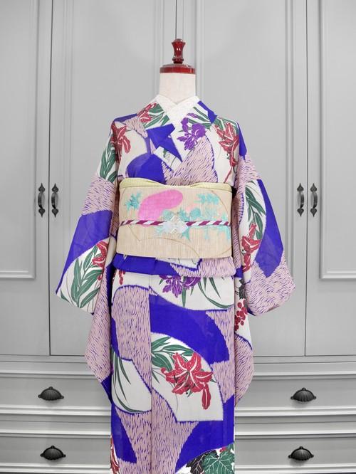 夏キモノ*絽*紫×ピンクに葡萄や百合の扇面模様 アンティーク小紋0148