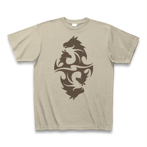 送料無料 仲良しな馬の親子(動物)オリジナル メンズTシャツ