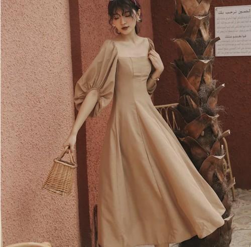 【送料無料】Aライン ワンピース ロングワンピース  ナチュラル カーキ ブラウン バルーンスリーブ ドレス デート 女子会 韓国 上品