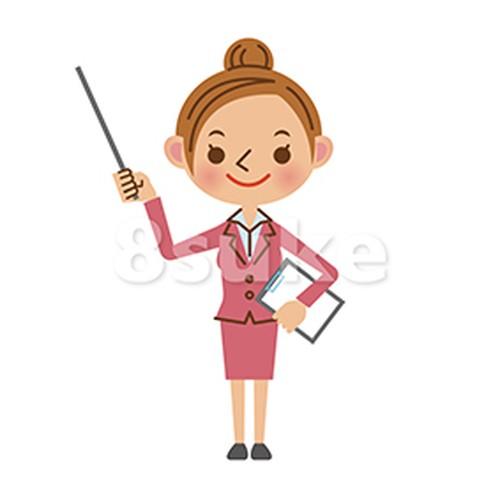 イラスト素材:指し棒を使って解説・プレゼンするビジネスウーマン(ベクター・JPG)