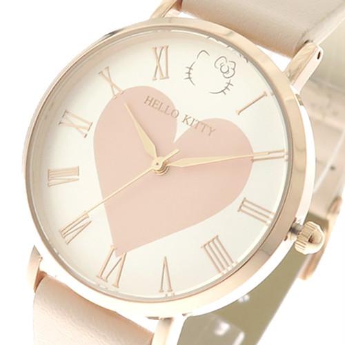 ハローキティ HELLO KITTY 腕時計 レディース KT001-1PI ビッグハート クォーツ ホワイト ピンク ピンク