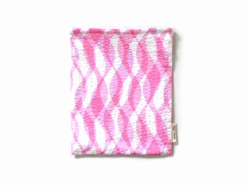 ハリネズミ用寝袋 M(夏用) 綿リップル×スムースニット 波柄 ピンク