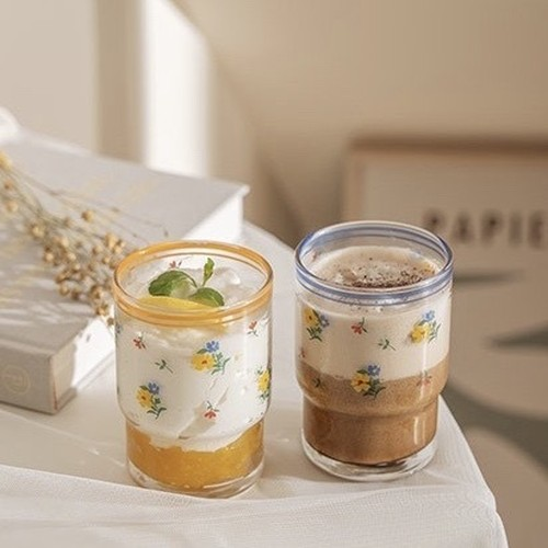 vintage line retro flower glass cup 245ml 2colors / レトロ フラワー ガラス コップ 韓国