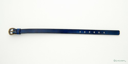木版染革ベルト群青色S