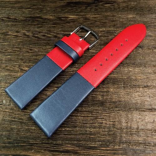 BAMBI カラーブロック 2トーン ストラップ  レッド/ネイビー 20mm 腕時計ベルト